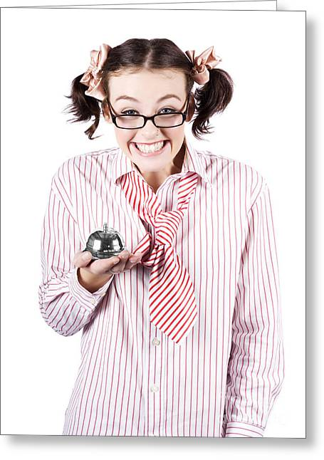 Nerd Sales Woman Holding Service Bell Over White Greeting Card