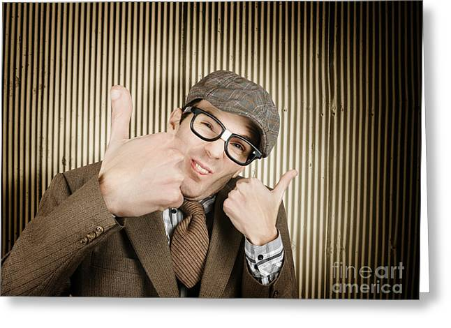 Nerd With Big Thumbs Up Greeting Card by Jorgo Photography - Wall Art Gallery