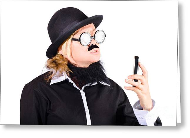 Nerd With Mobile Telephone Greeting Card by Jorgo Photography - Wall Art Gallery