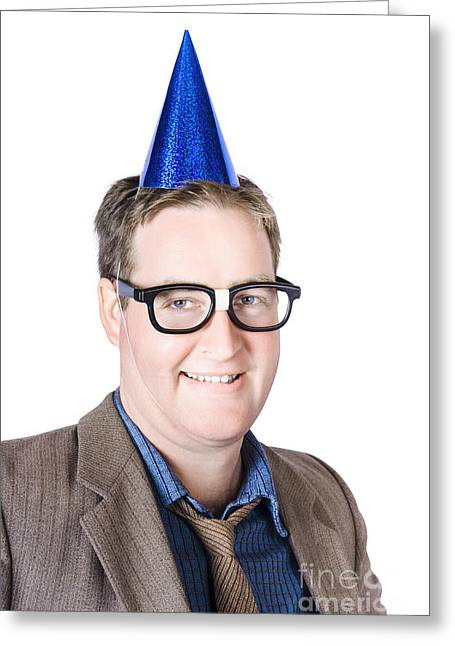 Nerdy Man At Work Christmas Party Greeting Card by Jorgo Photography - Wall Art Gallery