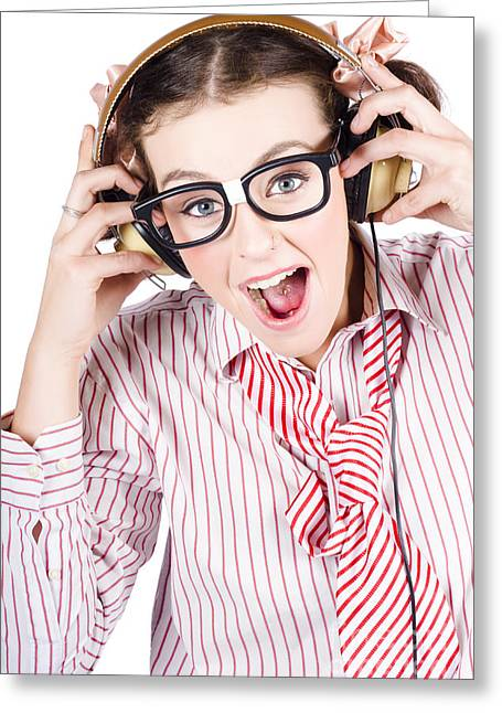 Nerdy Retro Schoolgirl Raving To Music On White Greeting Card by Jorgo Photography - Wall Art Gallery
