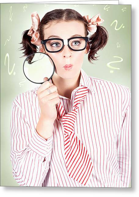 Nerdy School Girl Student With Education Question Greeting Card by Jorgo Photography - Wall Art Gallery