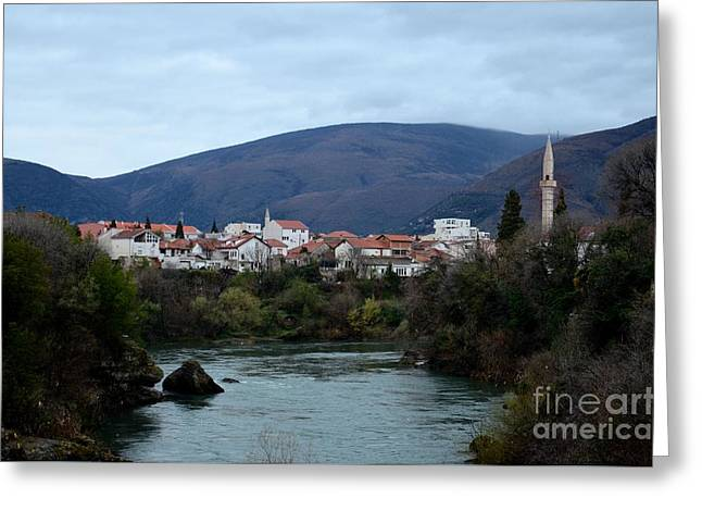 Neretva River And Mostar City And Hills With Mosque Minaret Bosnia Herzegovina Greeting Card by Imran Ahmed