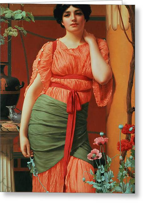 Nerissa Greeting Card by John William Godward