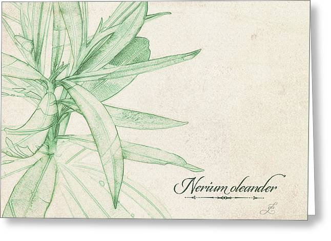 Greeting Card featuring the digital art Nerium Oleander by Gina Harrison