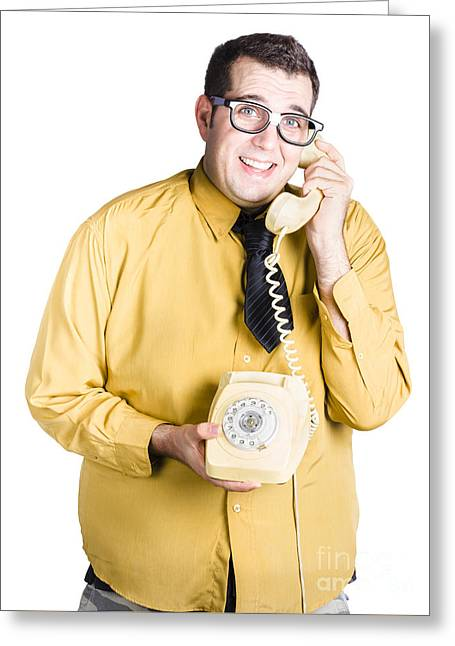 Nervous Man Taking Important Phone Call Greeting Card