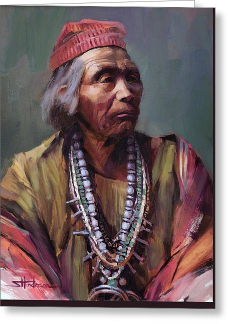 Greeting Card featuring the painting Nesjaja Hatali Medicine Man Of The Navajo People by Steve Henderson