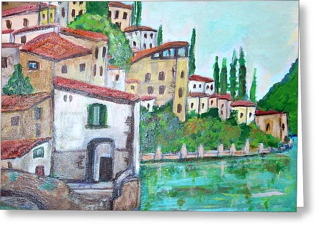 Nesso Village In Lake Como Greeting Card