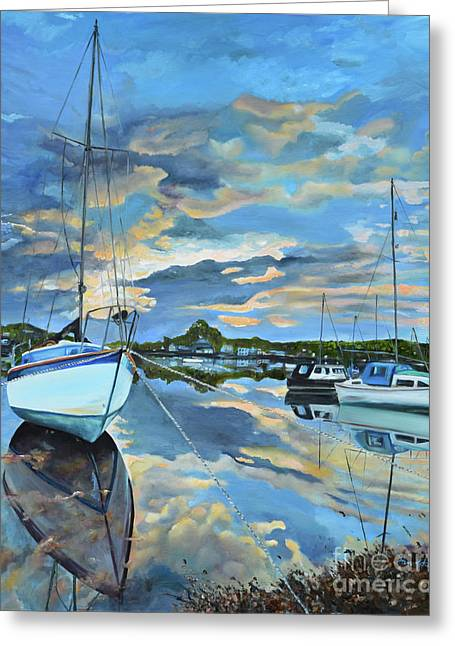 Greeting Card featuring the painting Nestled In For The Night At Mylor Bridge - Cornwall Uk - Sailboat  by Jan Dappen