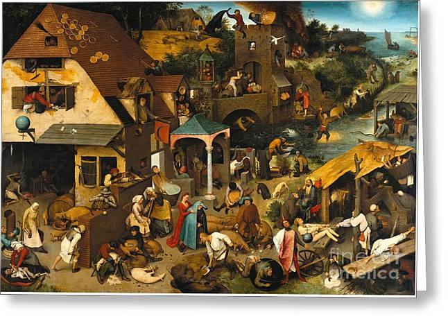 Netherlandish Proverbs Greeting Card by Celestial Images