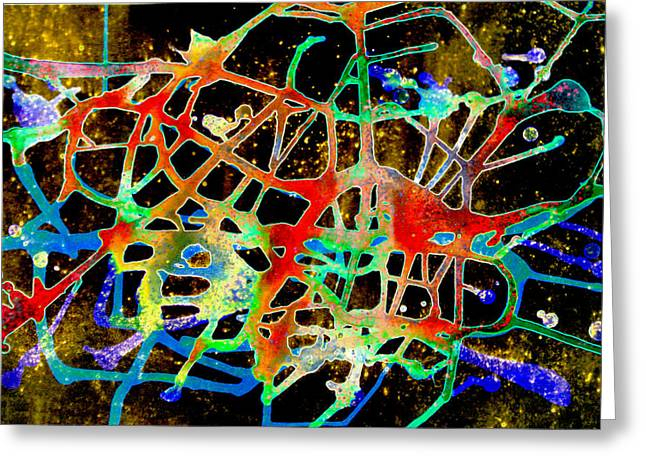 Greeting Card featuring the painting Neuron2 by Mordecai Colodner