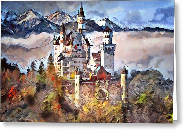 Greeting Card featuring the digital art Neuschwanstein Castle by Pennie McCracken