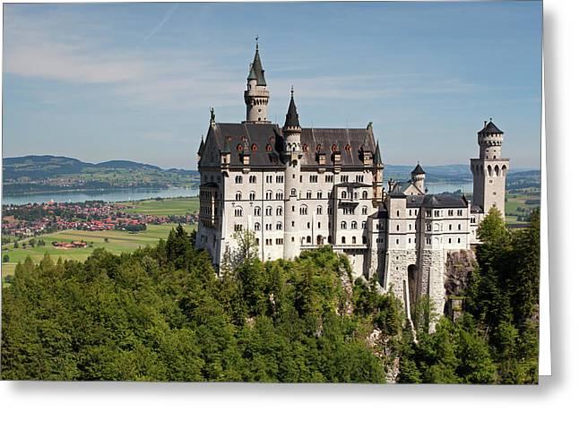 Neuschwanstein Castle With Village Greeting Card