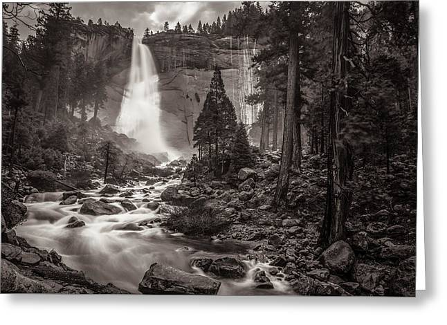 Greeting Card featuring the photograph Nevada Fall Monochrome by Scott McGuire