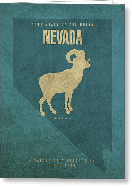 Nevada State Facts Minimalist Movie Poster Art Greeting Card
