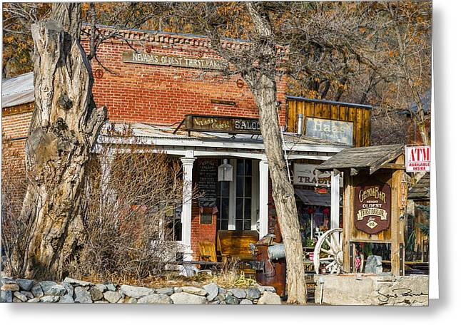 Genoa Bar Greeting Cards - Nevada Thirst Parlor Greeting Card by Jens Peermann