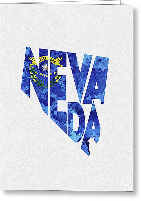 Nevada Typographic Map Flag Greeting Card