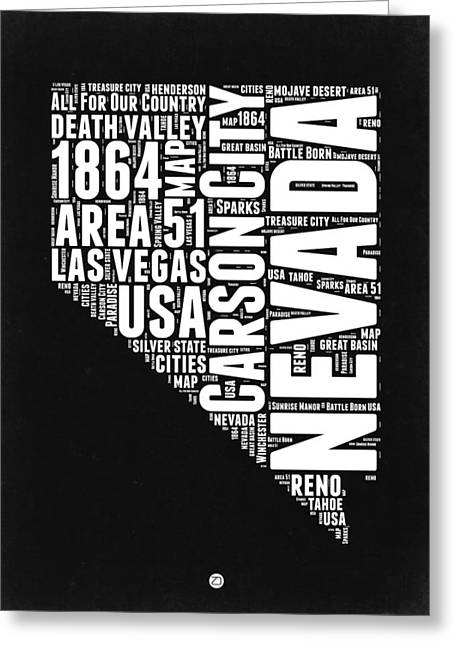Nevada Word Cloud Black And White Map Greeting Card by Naxart Studio