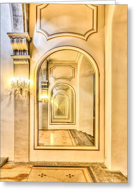 Never Ending Reflection Of Mirrors Greeting Card by Semmick Photo
