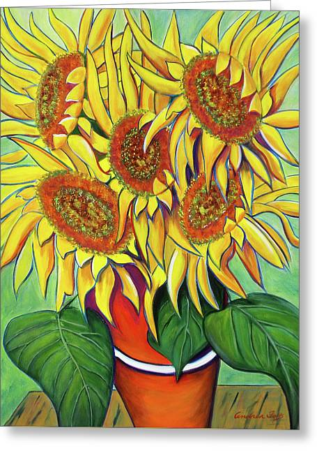 Never Enough Sunflowers Greeting Card by Andrea Folts