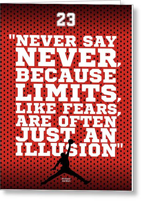 Never Say Never Gym Motivational Quotes Poster Greeting Card by Lab No 4