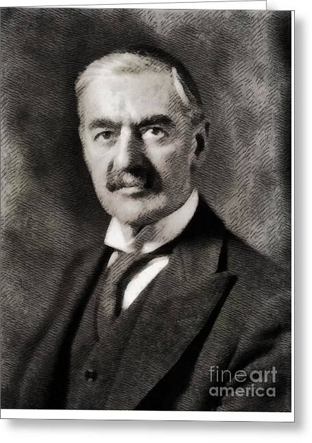Neville Chamberlain, Prime Minister Of The United Kingdom By John Springfield Greeting Card