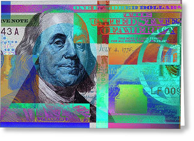 New 2009 Series Pop Art Colorized Us One Hundred Dollar Bill  No. 2 Greeting Card