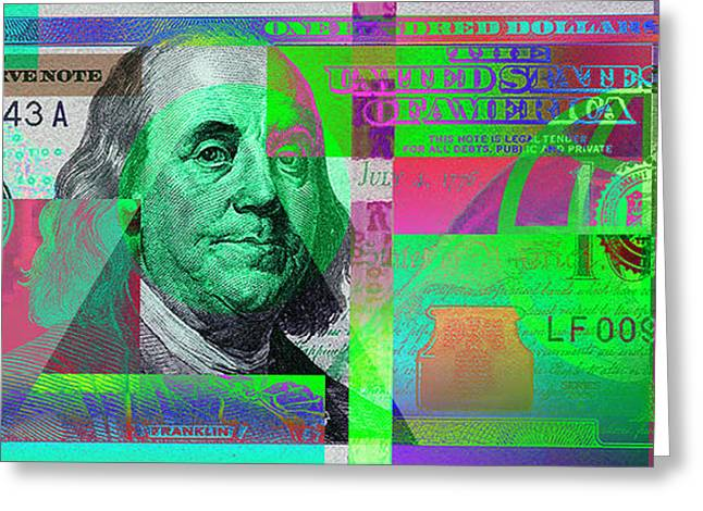 New 2009 Series Pop Art Colorized Us One Hundred Dollar Bill  No. 4 Greeting Card