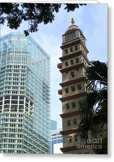 New And Old Singapore Greeting Card by Randall Weidner