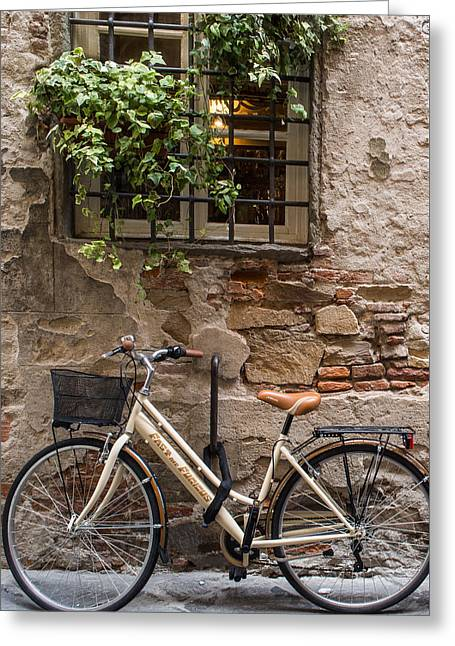 New Bike In Old Lucca Greeting Card