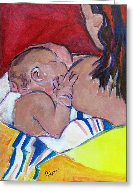 Greeting Card featuring the painting New Born by Betty Pieper