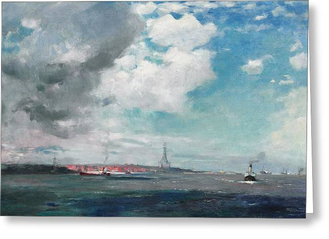 Seascapes Greeting Cards - New Brighton from the Mersey Greeting Card by JH Hay