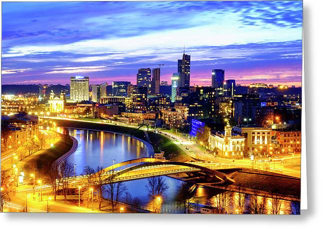 Greeting Card featuring the photograph New Center Of Vilnius by Fabrizio Troiani