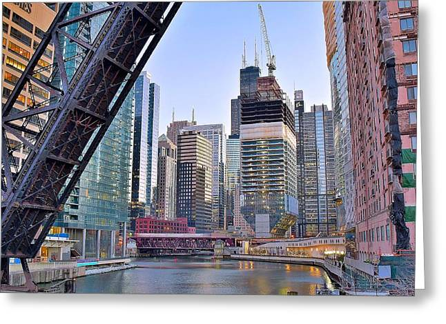 New Construction In The Windy City Greeting Card by Frozen in Time Fine Art Photography