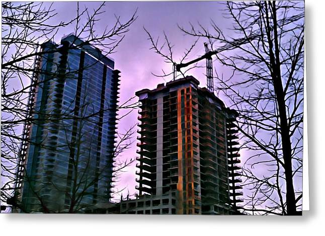 New Construction, Two Towers Greeting Card