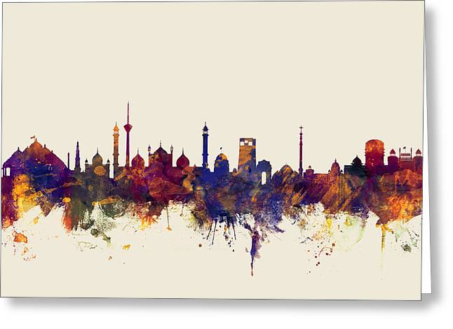 New Delhi India Skyline Greeting Card by Michael Tompsett