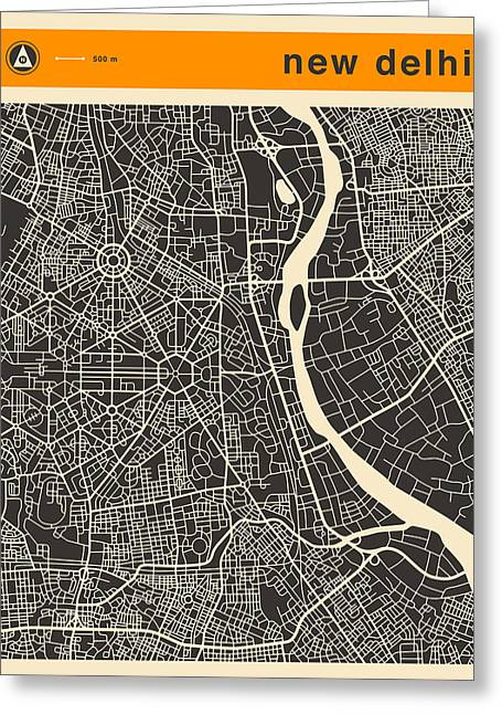 New Delhi Map Greeting Card by Jazzberry Blue