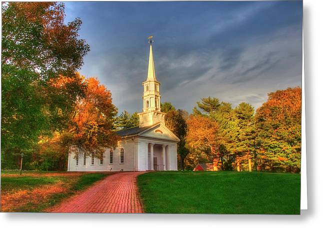 Greeting Card featuring the photograph New England Autumn - White Chapel by Joann Vitali