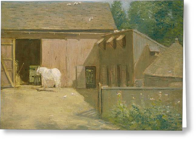 New England Barnyard Greeting Card by Julian Alden Weir