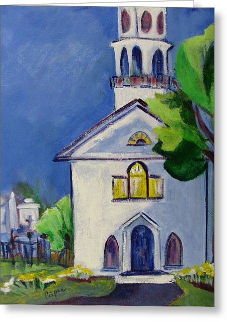Greeting Card featuring the painting New England Church by Betty Pieper
