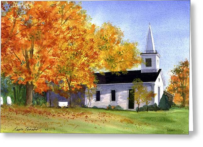 New England Church In Fall Greeting Card by Laura Tasheiko