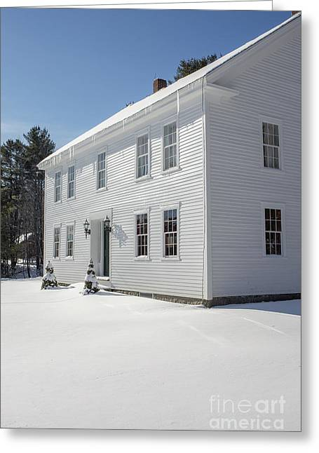 New England Colonial Home In Winter Greeting Card by Edward Fielding