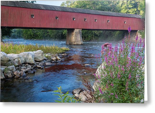 New England Covered Bridge Connecticut Greeting Card by Bill Wakeley