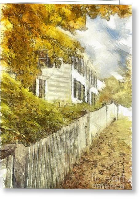 New England Fall Foliage Pencil Greeting Card by Edward Fielding