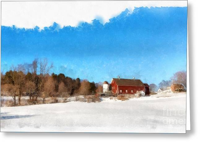 New England Farm Winter South Woodstock Vermont Greeting Card by Edward Fielding