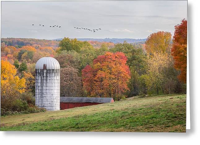 New England Fly Over Greeting Card by Bill Wakeley