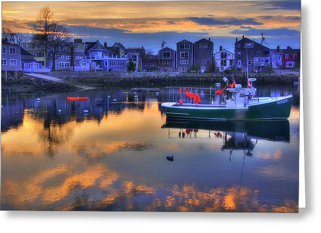 New England Harbor Sunset - Rockport, Ma Greeting Card