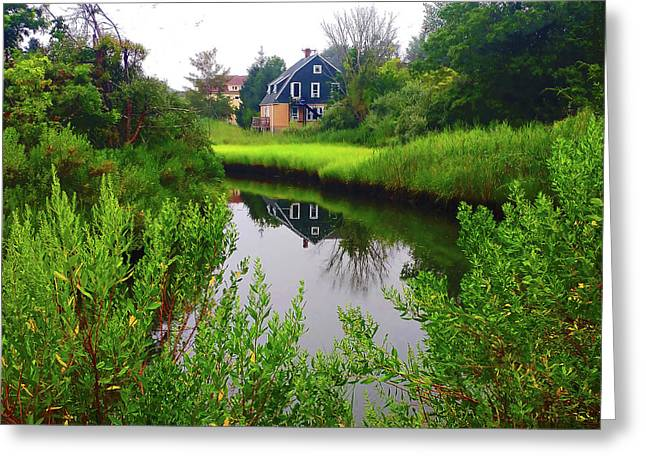 New England House And Stream Greeting Card