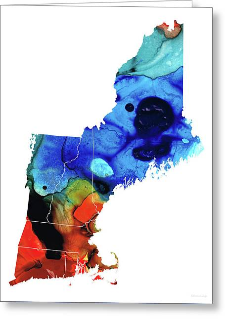 New England - Map By Sharon Cummings Greeting Card
