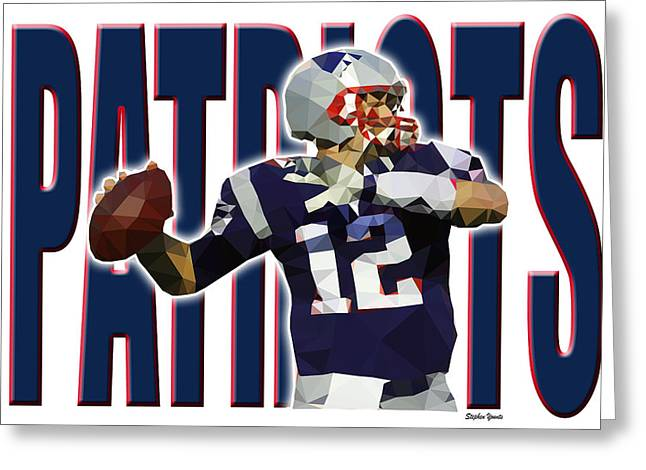 Greeting Card featuring the digital art New England Patriots by Stephen Younts
